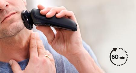 Consigue hasta 60 minutos de afeitado sin cable cuando la afeitadora está completamente cargada